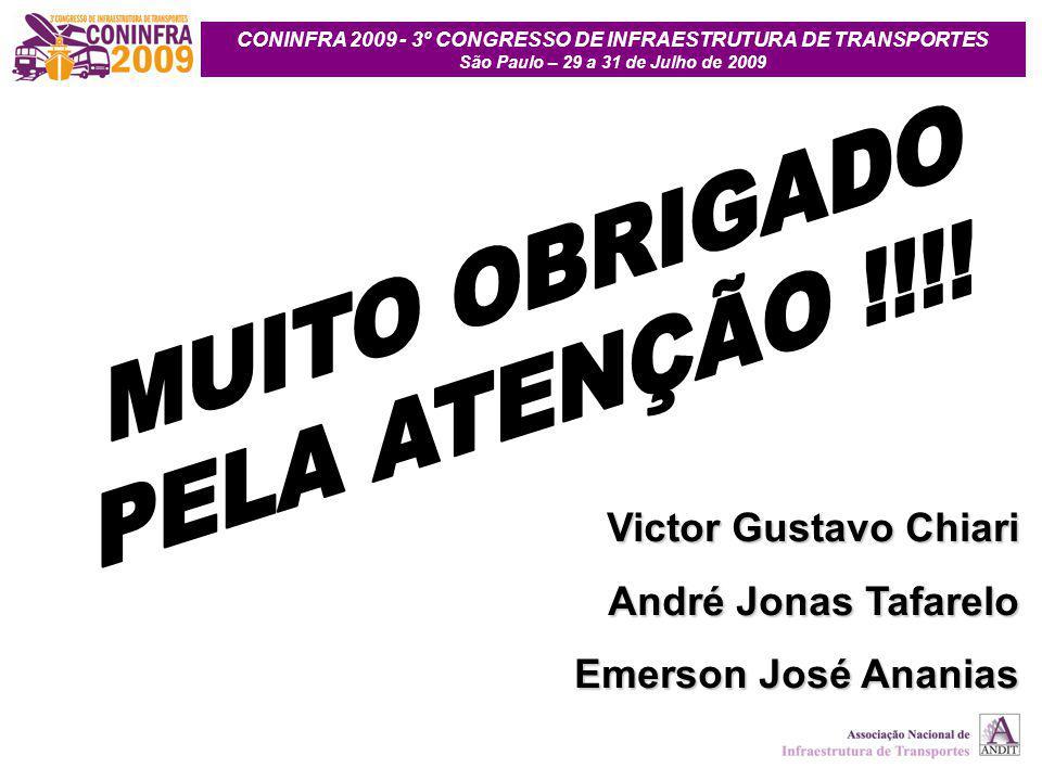 CONINFRA 2009 - 3º CONGRESSO DE INFRAESTRUTURA DE TRANSPORTES São Paulo – 29 a 31 de Julho de 2009 Victor Gustavo Chiari André Jonas Tafarelo Emerson