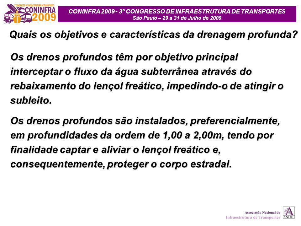 CONINFRA 2009 - 3º CONGRESSO DE INFRAESTRUTURA DE TRANSPORTES São Paulo – 29 a 31 de Julho de 2009 Quais os objetivos e características da drenagem pr