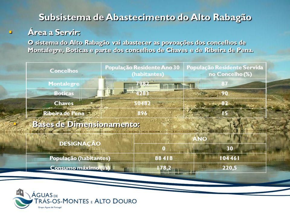  Área a Servir: O sistema do Alto Rabagão vai abastecer as povoações dos concelhos de Montalegre, Boticas e parte dos concelhos de Chaves e de Ribeira de Pena.