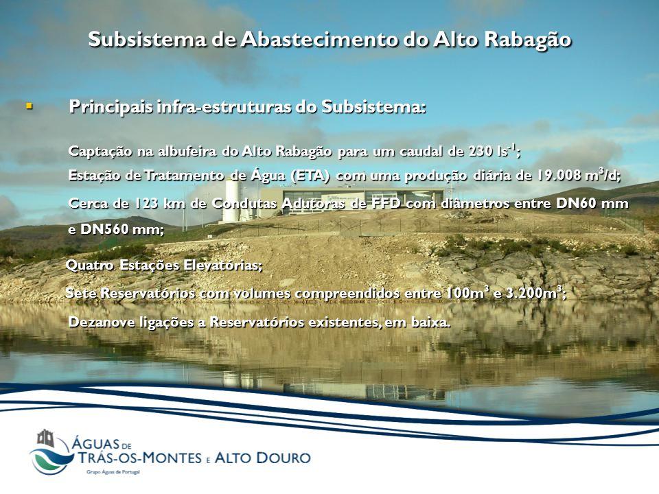 Subsistema de Abastecimento do Alto Rabagão  Principais infra-estruturas do Subsistema: Captação na albufeira do Alto Rabagão para um caudal de 230 l