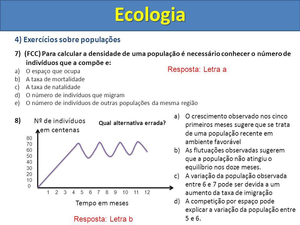 Ecologia 4) Exercícios sobre populações 7) (FCC) Para calcular a densidade de uma população é necessário conhecer o número de indivíduos que a compõe