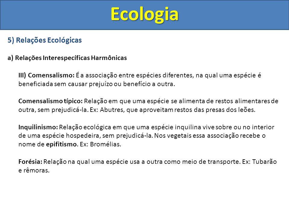5) Relações Ecológicas a) Relações Interespecíficas Harmônicas III) Comensalismo: É a associação entre espécies diferentes, na qual uma espécie é bene