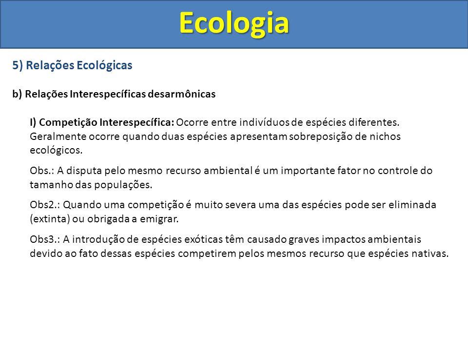 5) Relações Ecológicas b) Relações Interespecíficas desarmônicas I) Competição Interespecífica: Ocorre entre indivíduos de espécies diferentes. Geralm