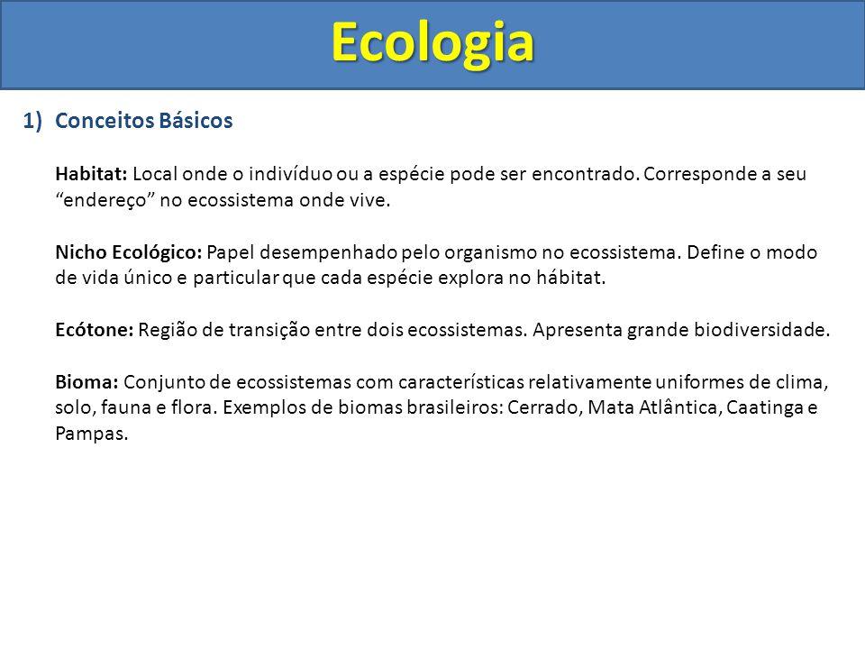 """Ecologia 1)Conceitos Básicos Habitat: Local onde o indivíduo ou a espécie pode ser encontrado. Corresponde a seu """"endereço"""" no ecossistema onde vive."""