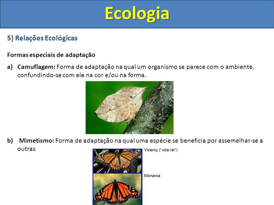 5) Relações Ecológicas Formas especiais de adaptação a)Camuflagem: Forma de adaptação na qual um organismo se parece com o ambiente, confundindo-se co