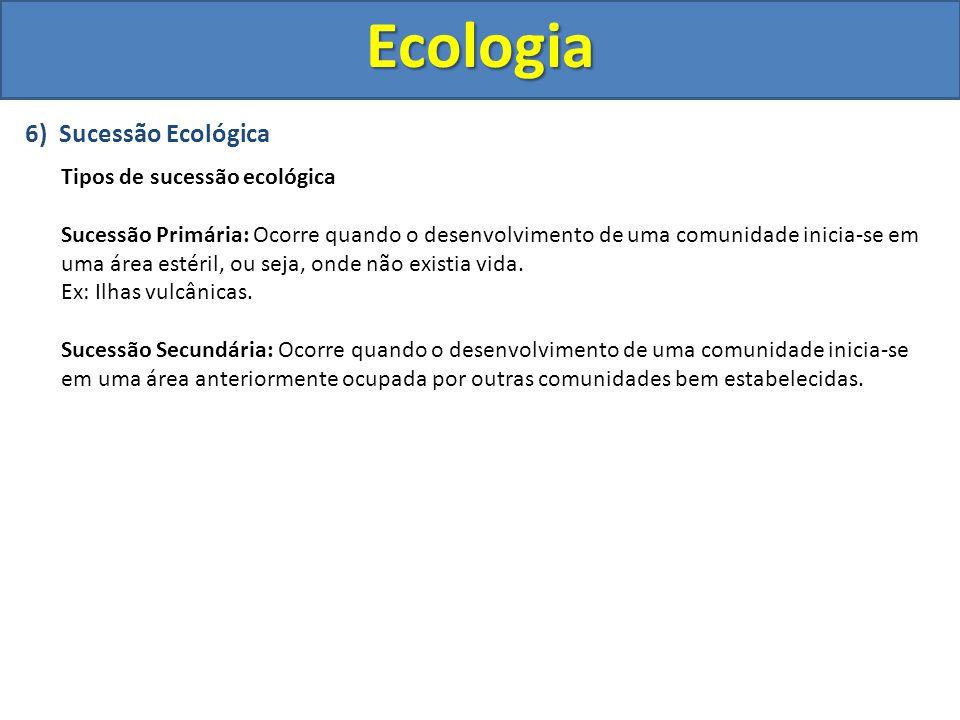 6) Sucessão Ecológica Tipos de sucessão ecológica Sucessão Primária: Ocorre quando o desenvolvimento de uma comunidade inicia-se em uma área estéril,