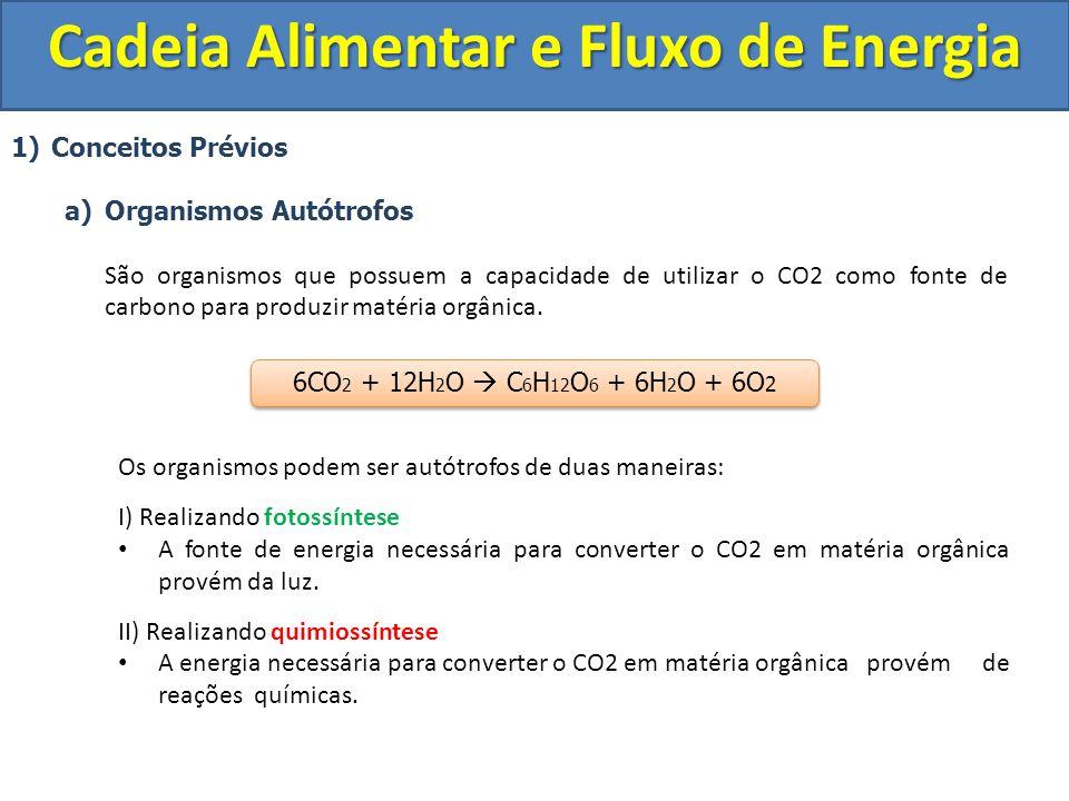 1)Conceitos Prévios a)Organismos Autótrofos São organismos que possuem a capacidade de utilizar o CO2 como fonte de carbono para produzir matéria orgâ