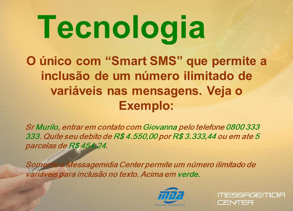 O único com Smart SMS que permite a inclusão de um número ilimitado de variáveis nas mensagens.