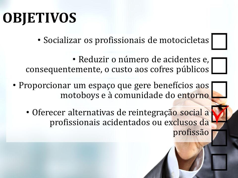 Socializar os profissionais de motocicletas Reduzir o número de acidentes e, consequentemente, o custo aos cofres públicos Proporcionar um espaço que