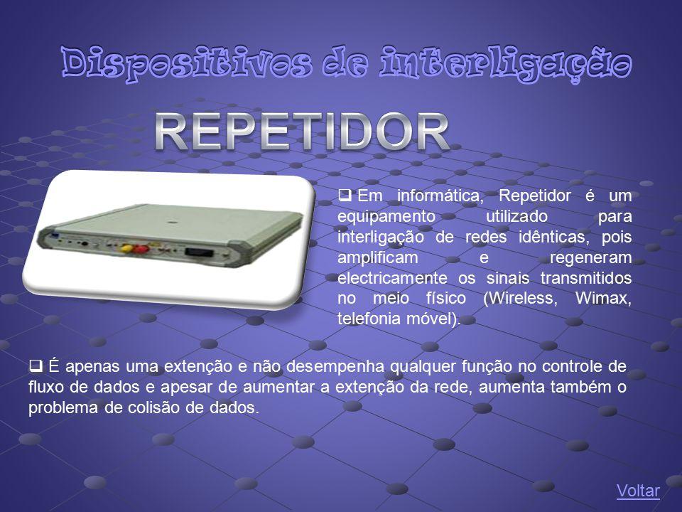  Em informática, Repetidor é um equipamento utilizado para interligação de redes idênticas, pois amplificam e regeneram electricamente os sinais tran