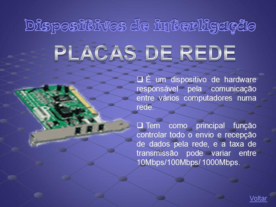  É um dispositivo de hardware responsável pela comunicação entre vários computadores numa rede.  Tem como principal função controlar todo o envio e