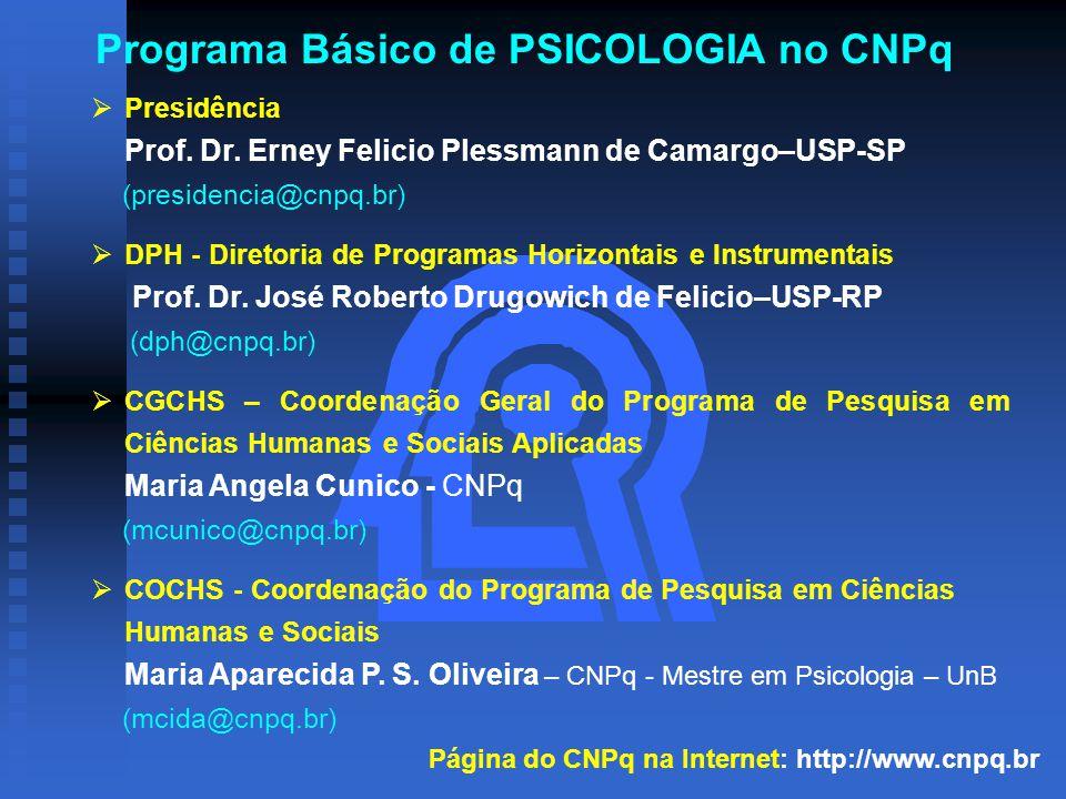 Programa Básico de PSICOLOGIA no CNPq  Presidência Prof.