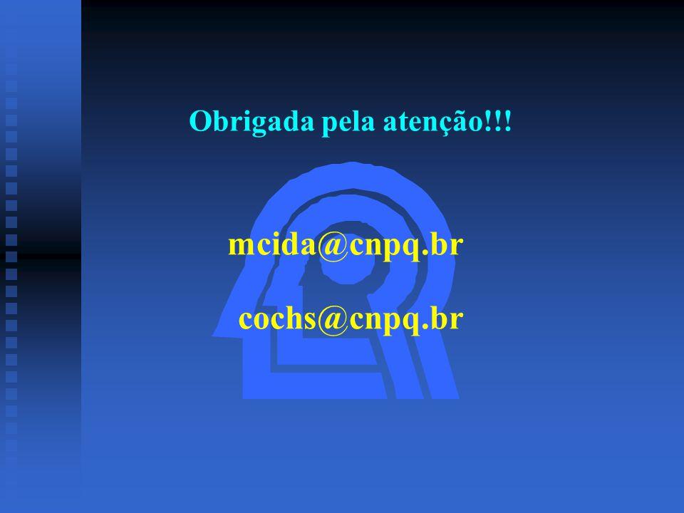 Obrigada pela atenção!!! mcida@cnpq.br cochs@cnpq.br