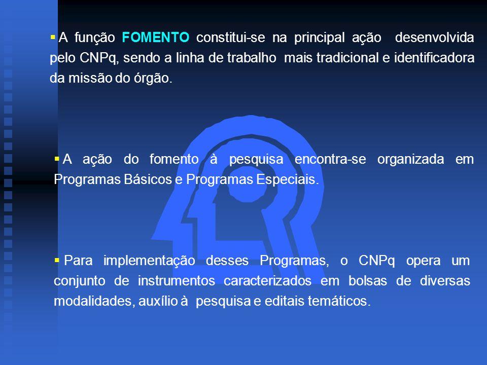  A função FOMENTO constitui-se na principal ação desenvolvida pelo CNPq, sendo a linha de trabalho mais tradicional e identificadora da missão do órgão.
