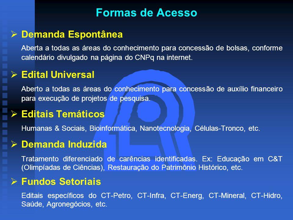 Formas de Acesso   Demanda Espontânea Aberta a todas as áreas do conhecimento para concessão de bolsas, conforme calendário divulgado na página do CNPq na internet.