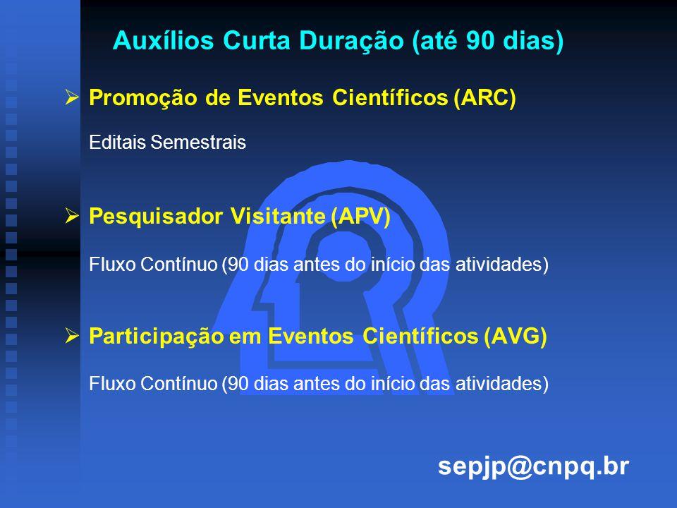Auxílios Curta Duração (até 90 dias)   Promoção de Eventos Científicos (ARC) Editais Semestrais   Pesquisador Visitante (APV) Fluxo Contínuo (90 dias antes do início das atividades)   Participação em Eventos Científicos (AVG) Fluxo Contínuo (90 dias antes do início das atividades) sepjp@cnpq.br