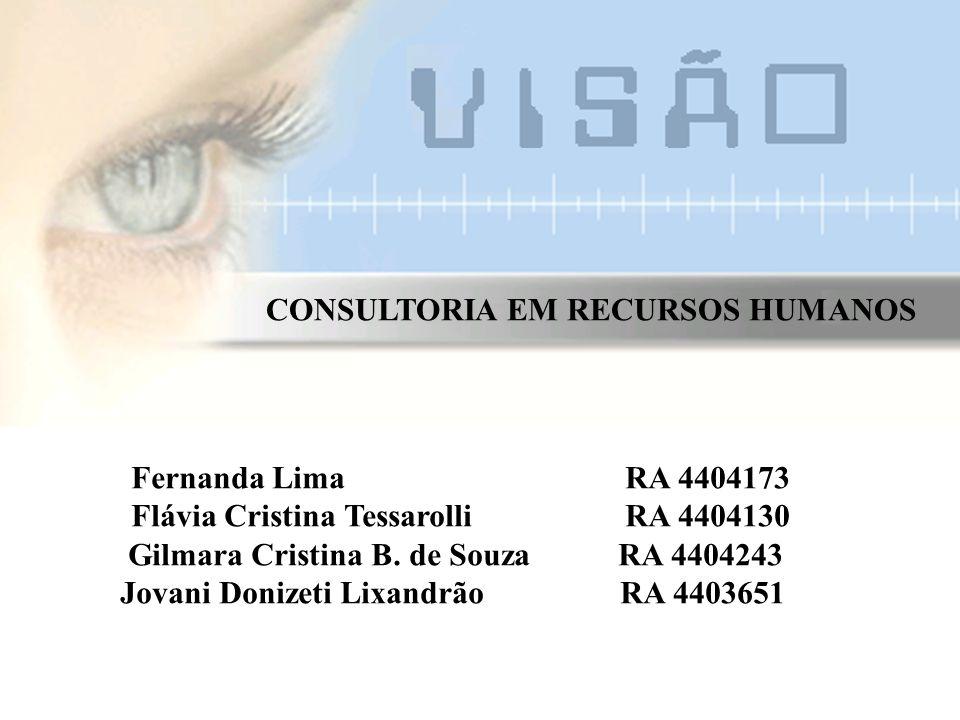 CONSULTORIA EM RECURSOS HUMANOS Fernanda Lima RA 4404173 Flávia Cristina Tessarolli RA 4404130 Gilmara Cristina B.