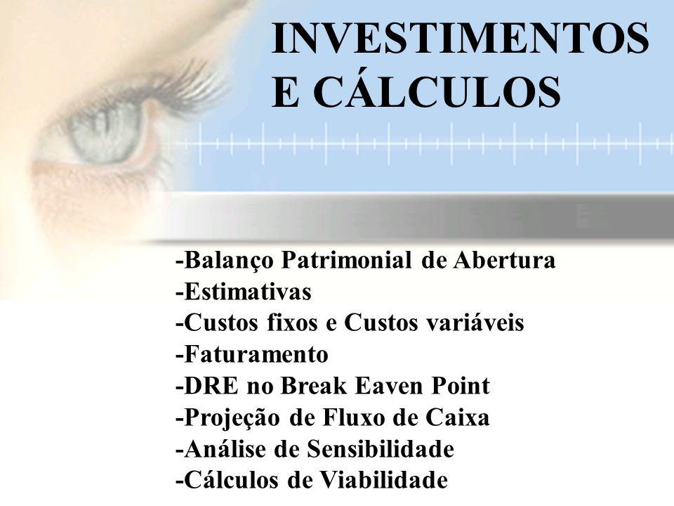 -Balanço Patrimonial de Abertura -Estimativas -Custos fixos e Custos variáveis -Faturamento -DRE no Break Eaven Point -Projeção de Fluxo de Caixa -Análise de Sensibilidade -Cálculos de Viabilidade.