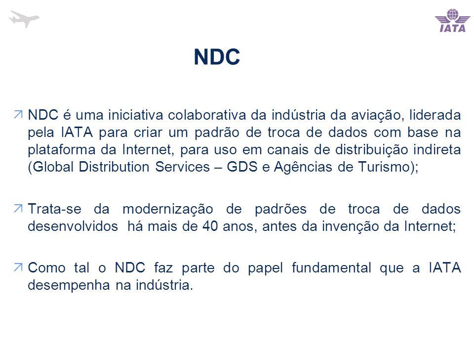 NDC  NDC é uma iniciativa colaborativa da indústria da aviação, liderada pela IATA para criar um padrão de troca de dados com base na plataforma da Internet, para uso em canais de distribuição indireta (Global Distribution Services – GDS e Agências de Turismo);  Trata-se da modernização de padrões de troca de dados desenvolvidos há mais de 40 anos, antes da invenção da Internet;  Como tal o NDC faz parte do papel fundamental que a IATA desempenha na indústria.