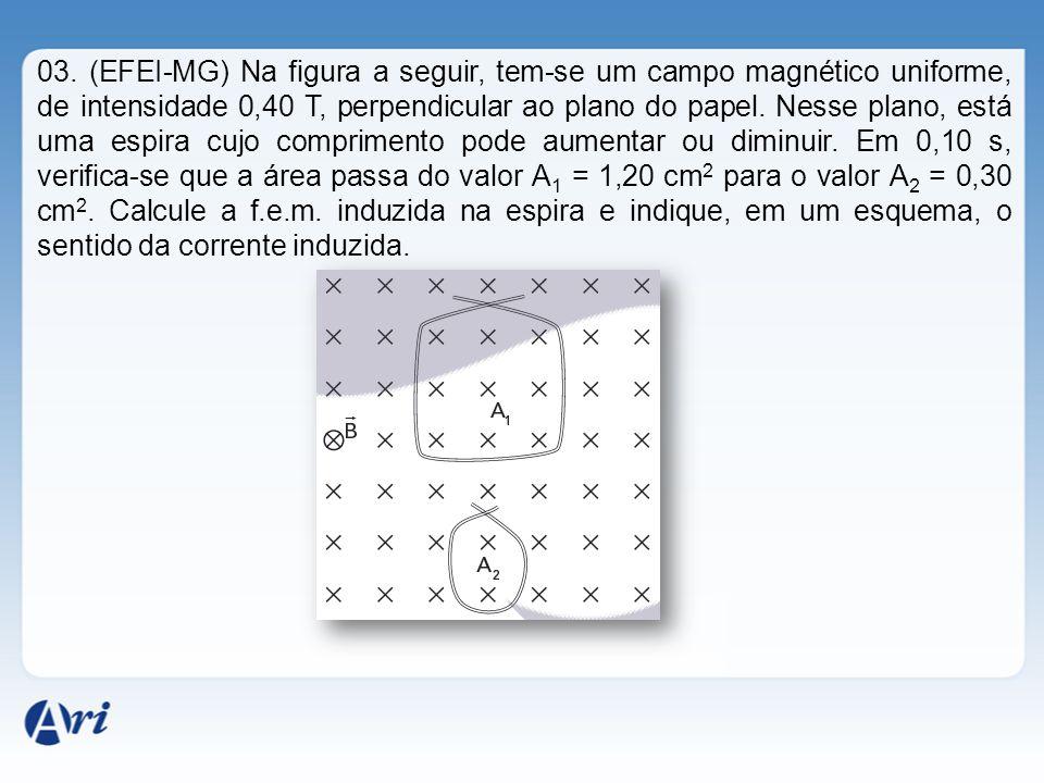 03. (EFEI-MG) Na figura a seguir, tem-se um campo magnético uniforme, de intensidade 0,40 T, perpendicular ao plano do papel. Nesse plano, está uma es