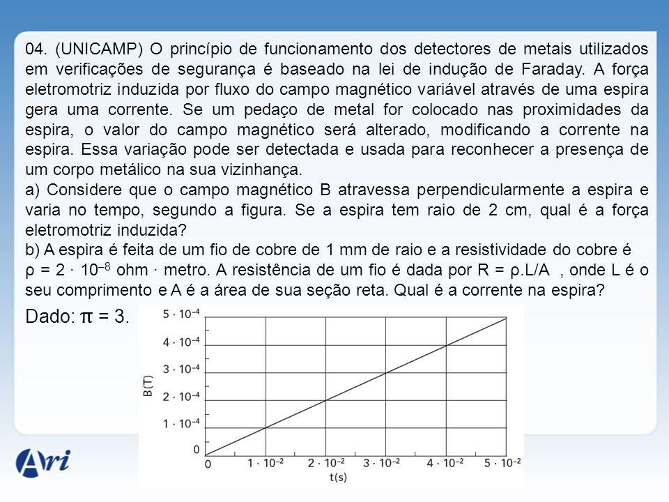 04. (UNICAMP) O princípio de funcionamento dos detectores de metais utilizados em verificações de segurança é baseado na lei de indução de Faraday. A
