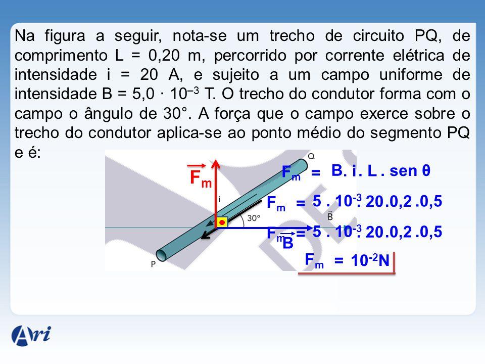 Na figura a seguir, nota-se um trecho de circuito PQ, de comprimento L = 0,20 m, percorrido por corrente elétrica de intensidade i = 20 A, e sujeito a