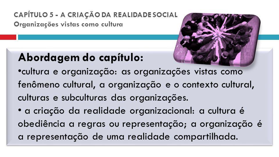CAPÍTULO 5 - A CRIAÇÃO DA REALIDADE SOCIAL Organizações vistas como cultura Abordagem do capítulo: cultura e organização: as organizações vistas como