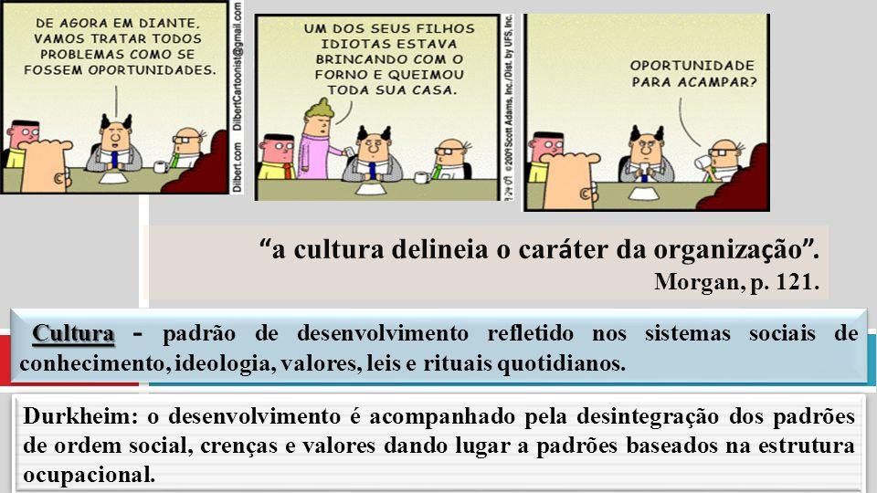 """"""" a cultura delineia o car á ter da organiza ç ão """". Morgan, p. 121. Cultura Cultura - padrão de desenvolvimento refletido nos sistemas sociais de con"""