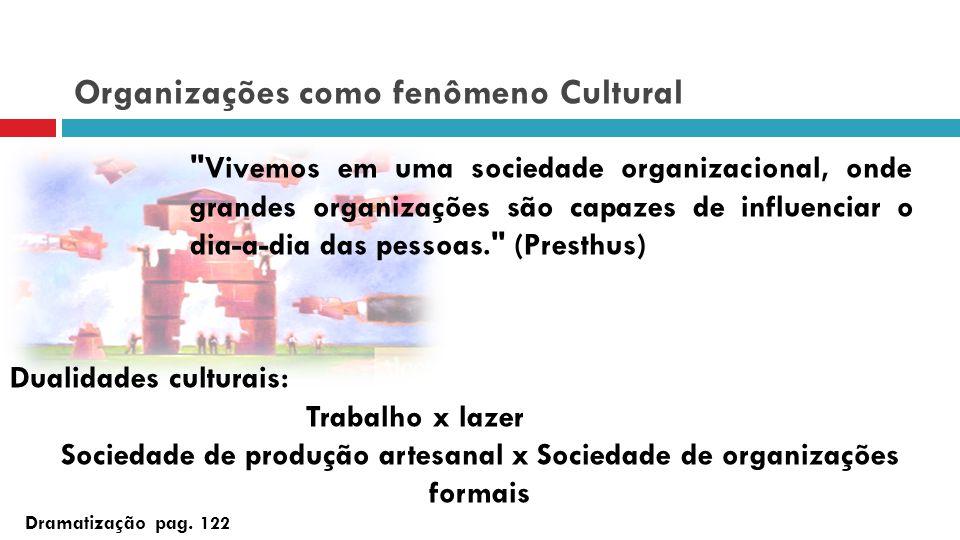 Organizações como fenômeno Cultural