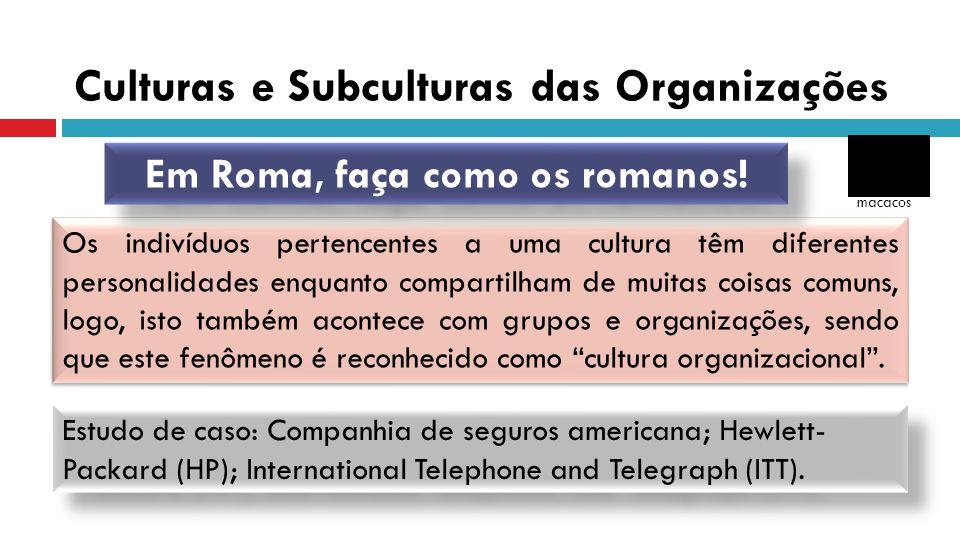 Culturas e Subculturas das Organizações Os indivíduos pertencentes a uma cultura têm diferentes personalidades enquanto compartilham de muitas coisas