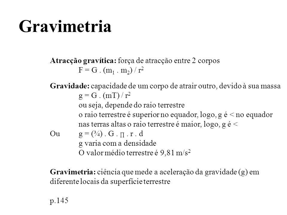 Gravimetria Atracção gravítica: força de atracção entre 2 corpos F = G. (m 1. m 2 ) / r 2 Gravidade: capacidade de um corpo de atrair outro, devido à