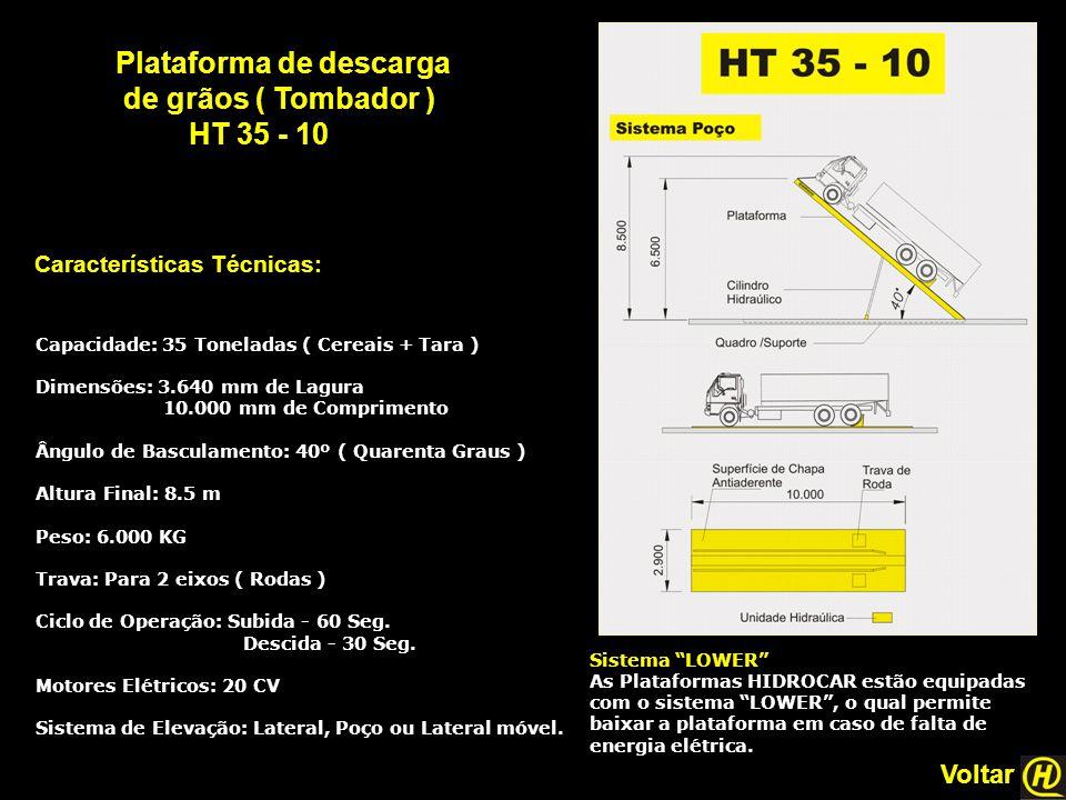 """Plataforma de descarga de grãos ( Tombador ) HT 35 - 10 Características Técnicas: Sistema """"LOWER"""" As Plataformas HIDROCAR estão equipadas com o sistem"""