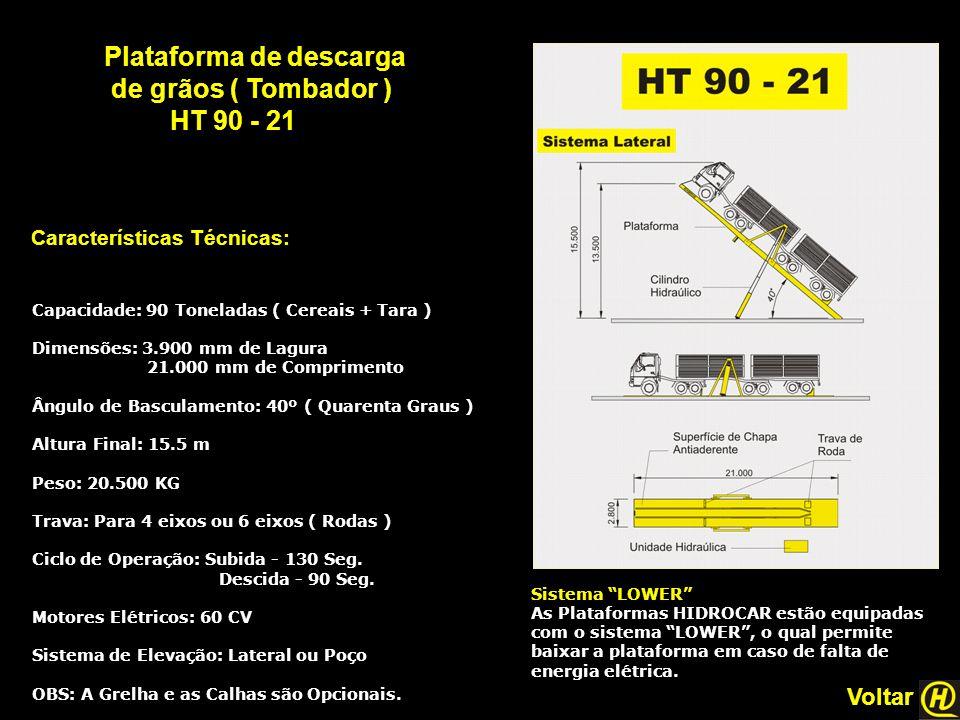 Plataforma de descarga de grãos ( Tombador ) HT 90 - 21 Características Técnicas: Sistema LOWER As Plataformas HIDROCAR estão equipadas com o sistema LOWER , o qual permite baixar a plataforma em caso de falta de energia elétrica.