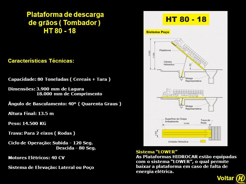 """Plataforma de descarga de grãos ( Tombador ) HT 80 - 18 Características Técnicas: Sistema """"LOWER"""" As Plataformas HIDROCAR estão equipadas com o sistem"""