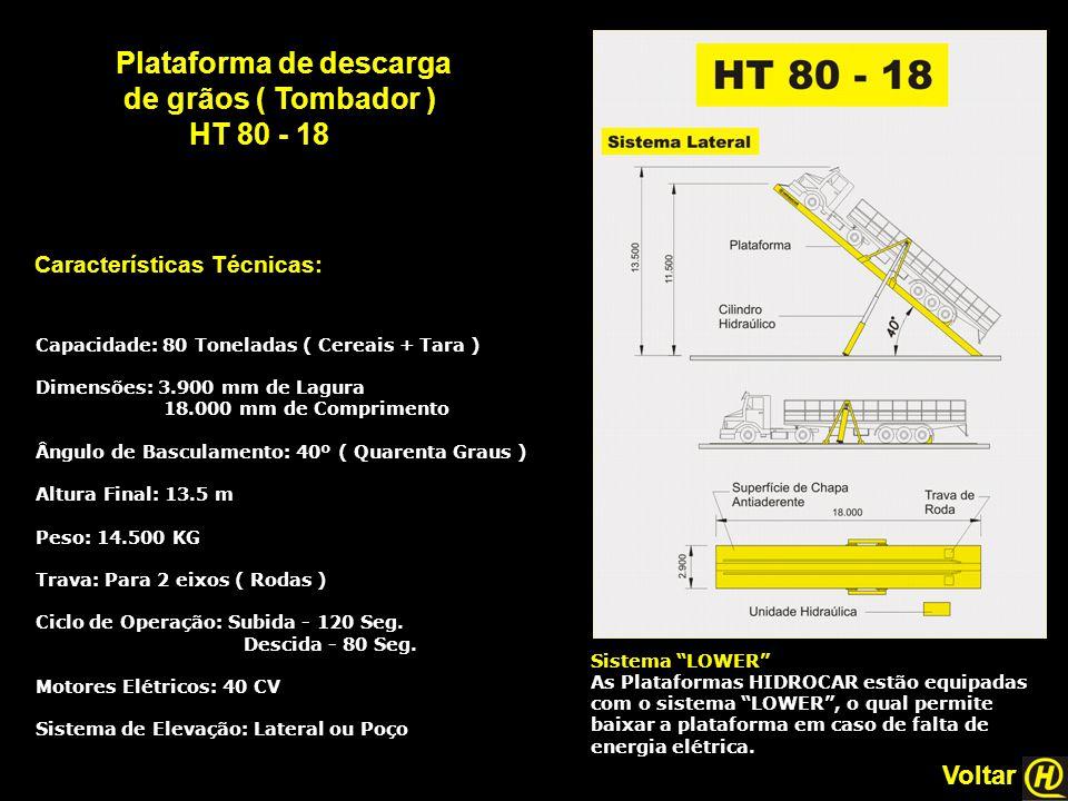 Plataforma de descarga de grãos ( Tombador ) HT 80 - 18 Características Técnicas: Sistema LOWER As Plataformas HIDROCAR estão equipadas com o sistema LOWER , o qual permite baixar a plataforma em caso de falta de energia elétrica.