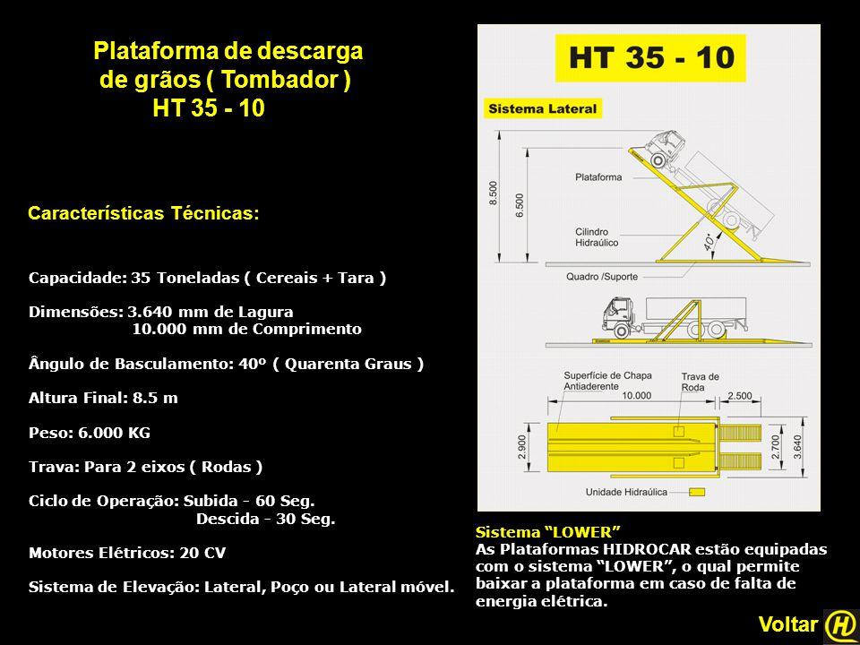 Plataforma de descarga de grãos ( Tombador ) HT 35 - 10 Características Técnicas: Sistema LOWER As Plataformas HIDROCAR estão equipadas com o sistema LOWER , o qual permite baixar a plataforma em caso de falta de energia elétrica.