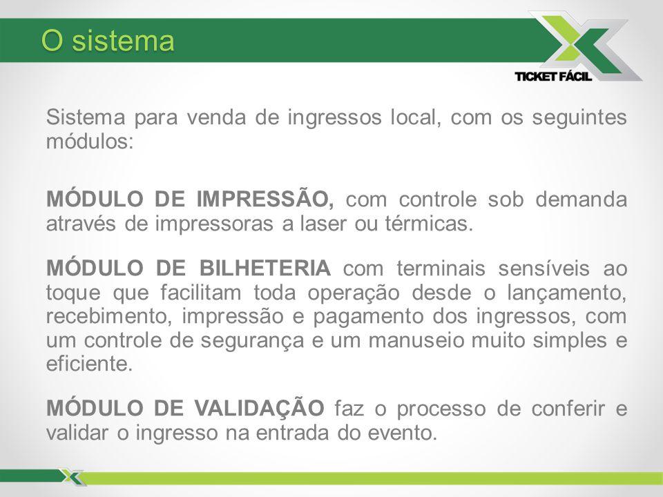 Sistema para venda de ingressos local, com os seguintes módulos: MÓDULO DE IMPRESSÃO, com controle sob demanda através de impressoras a laser ou térmi