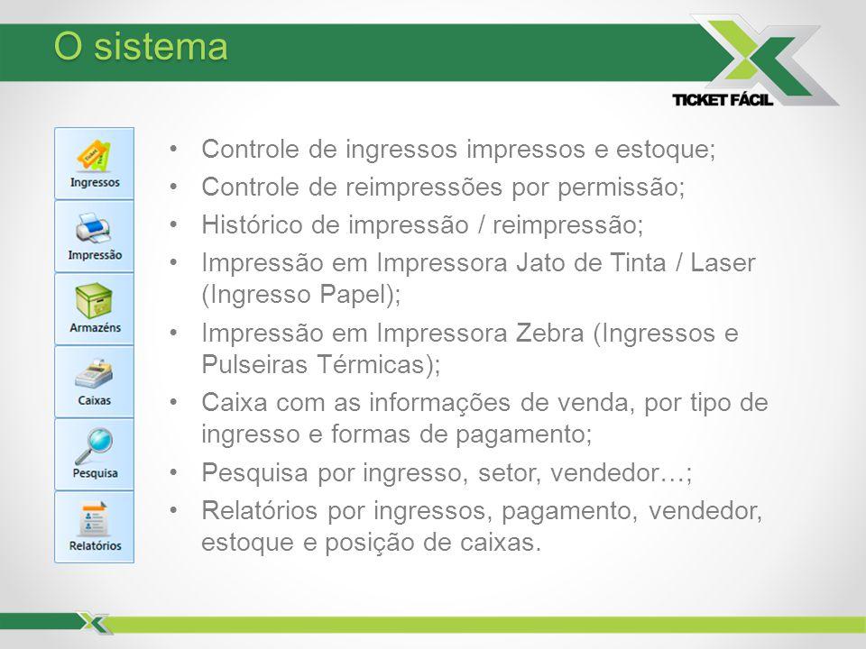 Controle de ingressos impressos e estoque; Controle de reimpressões por permissão; Histórico de impressão / reimpressão; Impressão em Impressora Jato