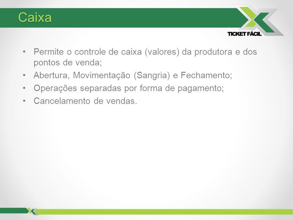 Caixa Permite o controle de caixa (valores) da produtora e dos pontos de venda; Abertura, Movimentação (Sangria) e Fechamento; Operações separadas por
