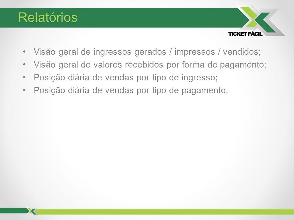 Relatórios Visão geral de ingressos gerados / impressos / vendidos; Visão geral de valores recebidos por forma de pagamento; Posição diária de vendas