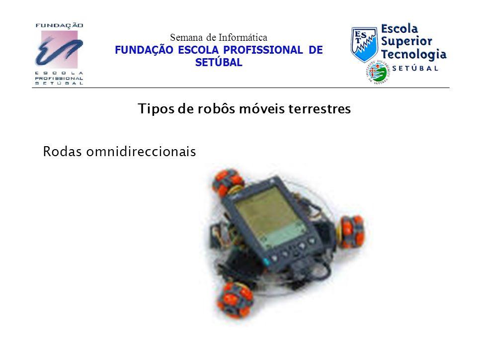Tipos de robôs móveis terrestres Semana de Informática FUNDAÇÃO ESCOLA PROFISSIONAL DE SETÚBAL Rodas omnidireccionais