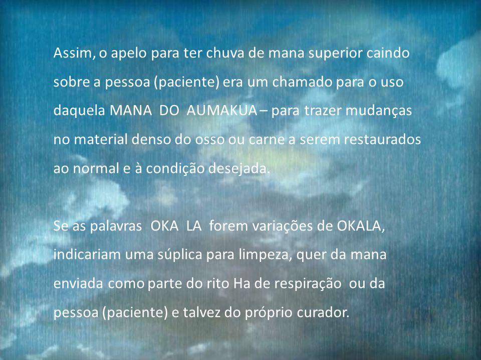 Chuva ou água pura, mesmo nuvens e névoas simbolizam MANA e pura chuva indicava geralmente a MANA SUPERIOR DO AUMAKUA.