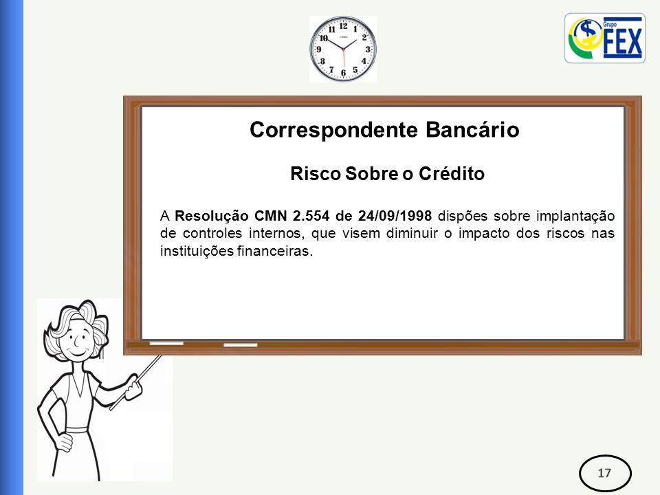 Correspondente Bancário Risco Sobre o Crédito A Resolução CMN 2.554 de 24/09/1998 dispões sobre implantação de controles internos, que visem diminuir o impacto dos riscos nas instituições financeiras.