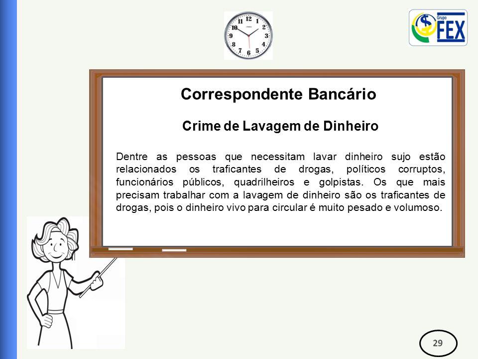 Correspondente Bancário Crime de Lavagem de Dinheiro Dentre as pessoas que necessitam lavar dinheiro sujo estão relacionados os traficantes de drogas, políticos corruptos, funcionários públicos, quadrilheiros e golpistas.