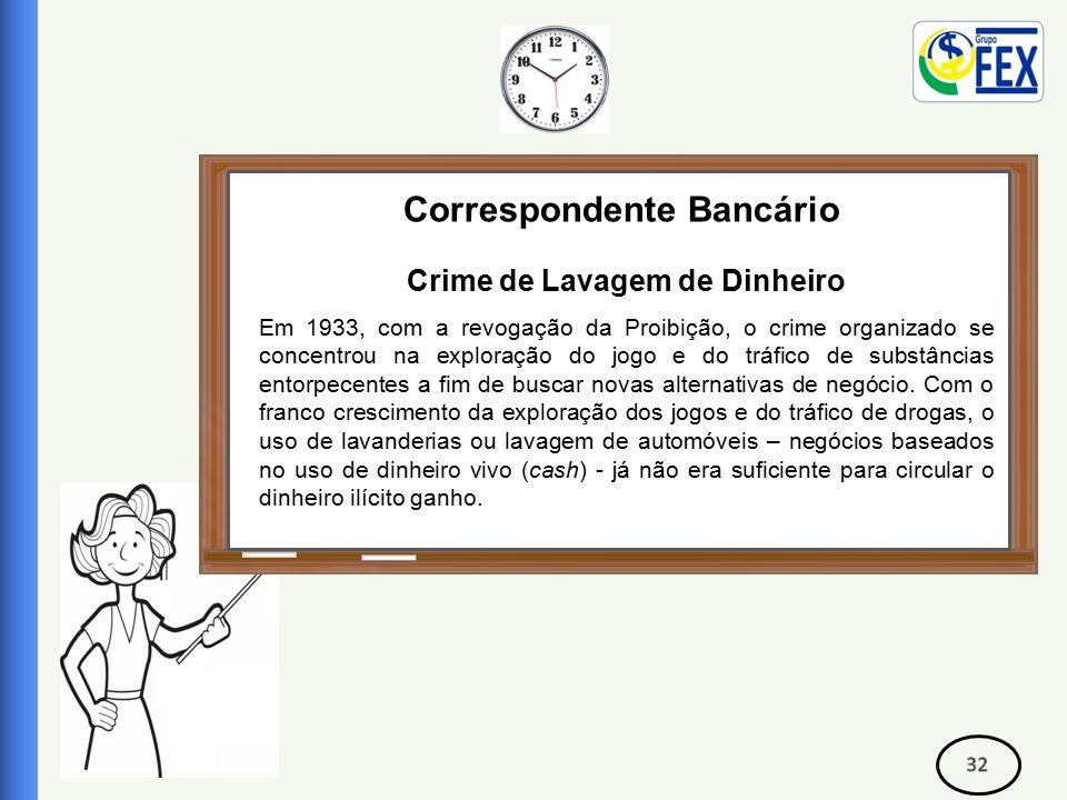 Correspondente Bancário Crime de Lavagem de Dinheiro Em 1933, com a revogação da Proibição, o crime organizado se concentrou na exploração do jogo e do tráfico de substâncias entorpecentes a fim de buscar novas alternativas de negócio.