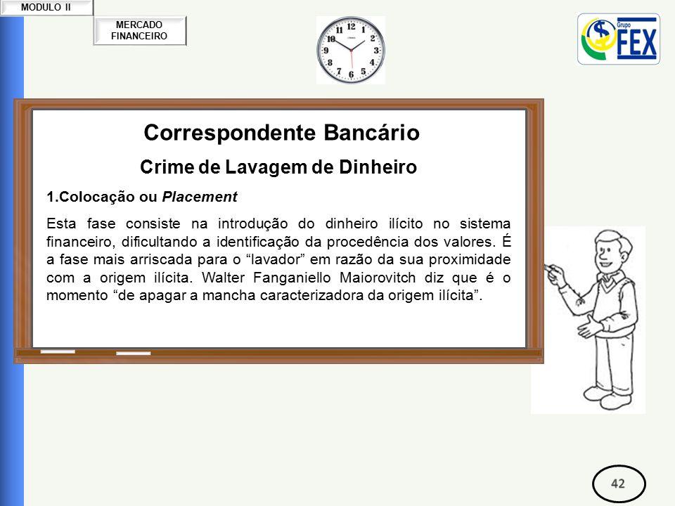 MERCADO FINANCEIRO MODULO II Correspondente Bancário Crime de Lavagem de Dinheiro 1.Colocação ou Placement Esta fase consiste na introdução do dinheiro ilícito no sistema financeiro, dificultando a identificação da procedência dos valores.