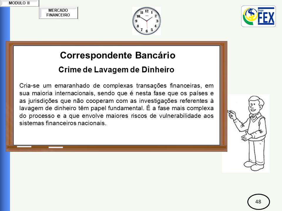 MERCADO FINANCEIRO MODULO II Correspondente Bancário Crime de Lavagem de Dinheiro Cria-se um emaranhado de complexas transações financeiras, em sua maioria internacionais, sendo que é nesta fase que os países e as jurisdições que não cooperam com as investigações referentes à lavagem de dinheiro têm papel fundamental.