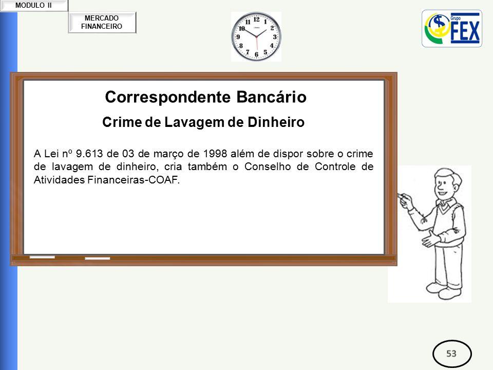 MERCADO FINANCEIRO MODULO II Correspondente Bancário Crime de Lavagem de Dinheiro A Lei nº 9.613 de 03 de março de 1998 além de dispor sobre o crime de lavagem de dinheiro, cria também o Conselho de Controle de Atividades Financeiras-COAF.