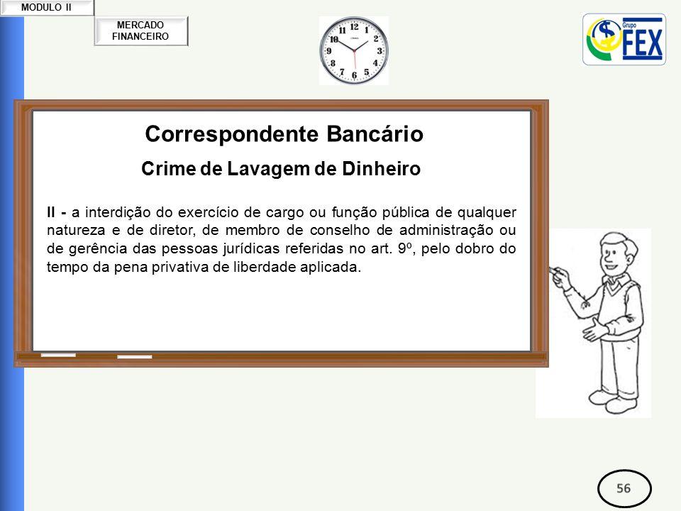 MERCADO FINANCEIRO MODULO II Correspondente Bancário Crime de Lavagem de Dinheiro II - a interdição do exercício de cargo ou função pública de qualquer natureza e de diretor, de membro de conselho de administração ou de gerência das pessoas jurídicas referidas no art.