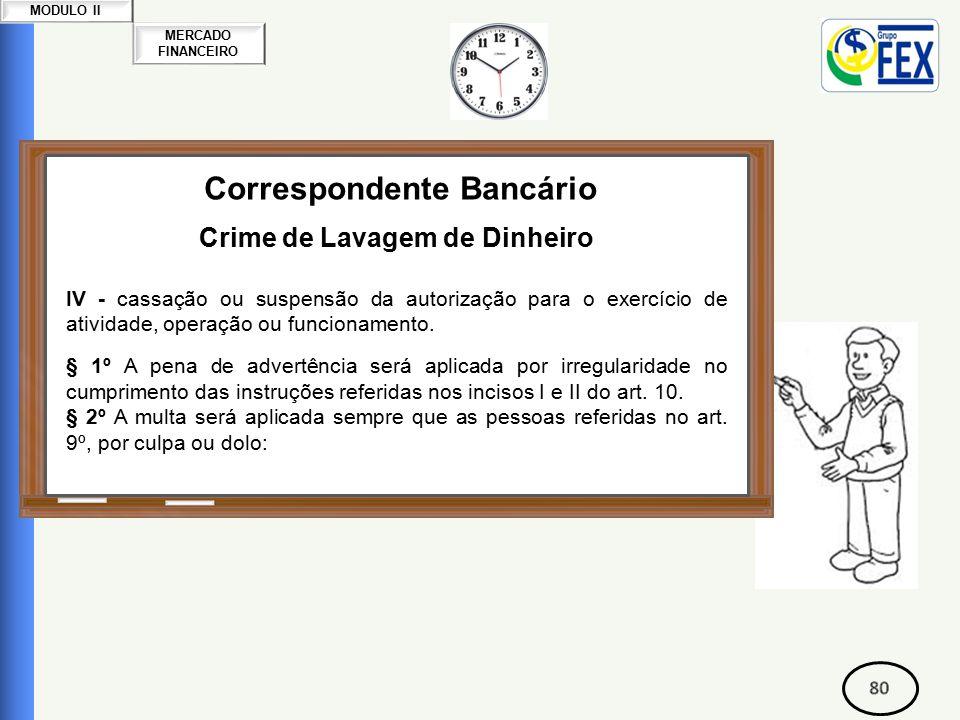 MERCADO FINANCEIRO MODULO II Correspondente Bancário Crime de Lavagem de Dinheiro IV - cassação ou suspensão da autorização para o exercício de atividade, operação ou funcionamento.